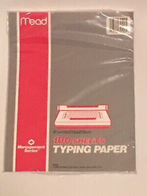 "Vintage 1988 Mead 39100 Typing Paper 100 Sheets 8.5"" x 11"" SEALED NOS"