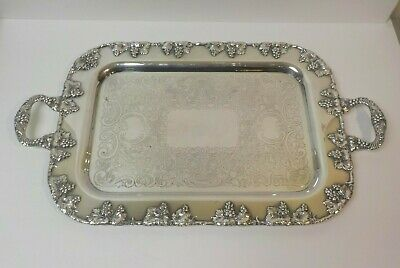 """Exceptional Crescent Silver Plate 23"""" Embossed & Engraved Butler's Tray"""