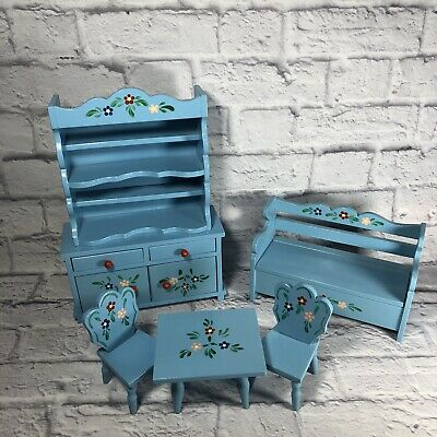 Vintage Romanian Doll Kitchen Furniture Hand Painted Blue & Floral -  6 pieces