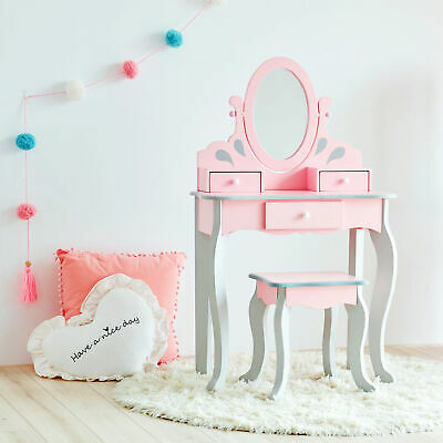 Teamson Kids Vanity Set Wooden Dressing Table With Mirror & Stool Pink TD12851A
