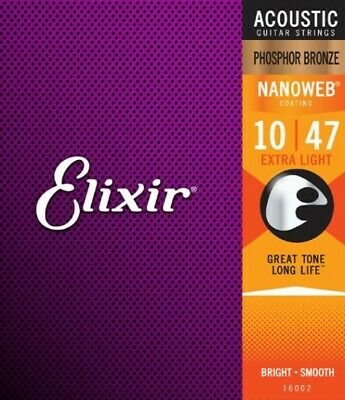 Elixir 16002 Nanoweb Coated Phosphor Bronze Acoustic Guitar Strings Extra Light