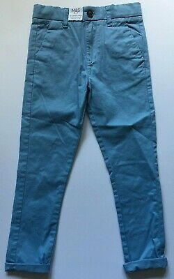 M&S Boys Blue Cotton Stretch Chinos Trousers  Age 2-3  3-4  4-5  5-6