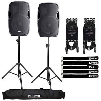 """Powered Active 15"""" Bluetooth DJ PA Speakers Pair Clutch Black w Stands & Cables"""