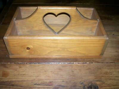 "VINTAGE WOODEN DIVIDED BOX with ""HEART"" cut out in HANDLE -1970- 8""W x 13-1/4""L"