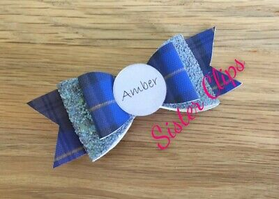 Personalised Back to school blue tartan gingham & grey glitter Hair Bow Clip 4""