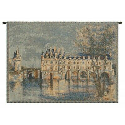 Chateau Chenonceau French Castle River Cher European Woven Tapestry Wall Hanging