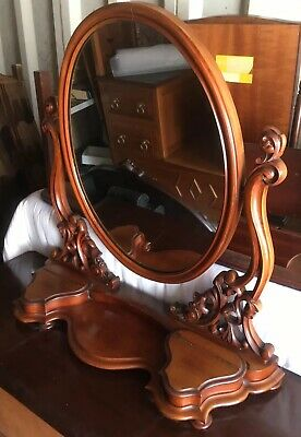 Antique fine quality large dressing table swing mirror Ornately Handcarved C1840