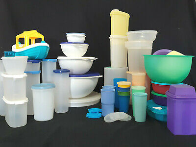 VINTAGE Tupperware Lot 75+ pcs Bowls Tumblers Square Round Storage Sheer Pastel