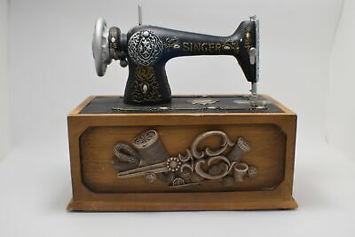 Novelty Sewing Box with miniature Singer Sewing Machine