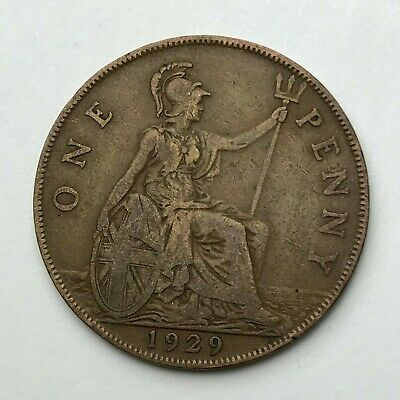Dated : 1929 - One Penny - 1d Coin - King George V - Great Britain
