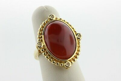 Gold Vermeil Sterling Silver 925 NH Oval Carnelian & Quartz Accent Ring Size 6.5
