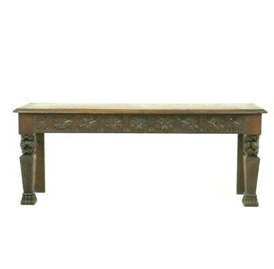 Entryway Bench, Antique Bench, Carved Oak Hall Bench, Window Seat, 1880, B1021