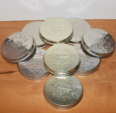 """9 x  FOWLERS VACOLA 4"""" Stainless Steel Lids Covers Preserving Lids"""