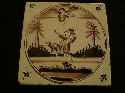 Manganese Antique Delft Tile - Figural Image with ram   20/167