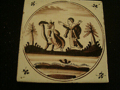 Manganese Antique Delft Tile - 2 figures wearing hats  20/167