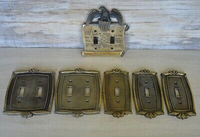 Set of 6 brass Light Switch Cover Plates, Vintage, Architectural Salvage