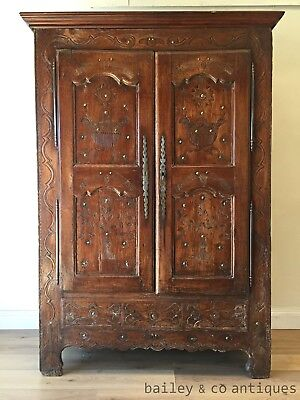 Antique French Armoire Chestnut Carved Brass Studded Rare Linen - TM201