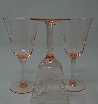 Antique  Pink Depression Glass Wine Glasses etched with Floral and Leaf pattern