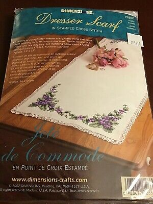 14 x 37 Dimensions Stamped Cross Stitch Butterflies and Fern Dresser Scarf