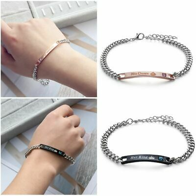Love Bangle Crystal Crown Couple Bracelets Stainless Steel Her King His Queen