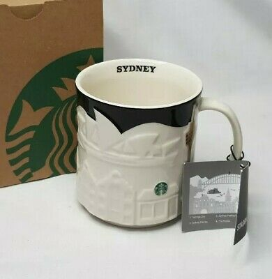 Starbucks Sydney Australia Landmarks Black and White Relief Collectors Item Mug