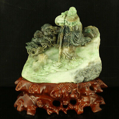 "9"" China old natural Nephrite du jade carved sitting Damo character statue"