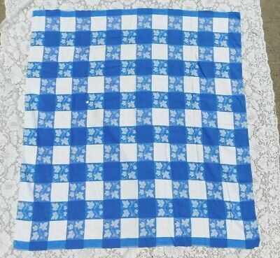 Vintage Blue And White Checkered Cotton Tablecloth 49 By 46.5 Inches