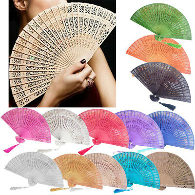 Chinese Style Wooden Folding Fan Wedding Hand Fragrant Party Carved Bamboo
