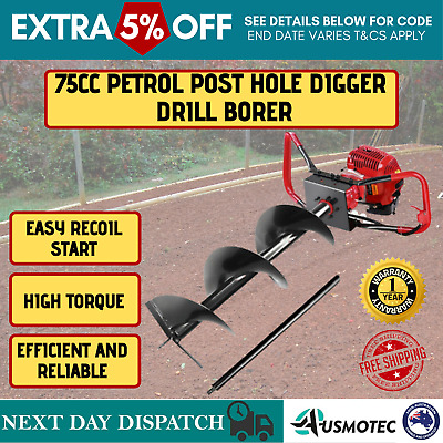 Giantz Petrol Digger Drill Borer Post Hole Fence Auger 300mm Extension 75CC Bits