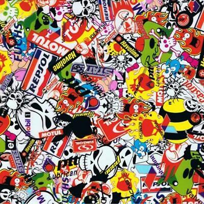 Sticker bomb hydrographic film hydro dipped 100cm width, various lengths Folded