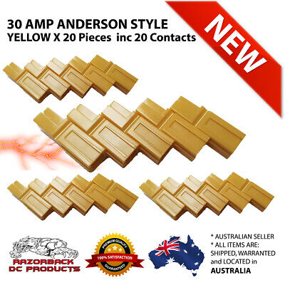 20X Yellow 30 Amp Anderson Style Powerpole Plugs 12-16 AWG * Premium Product 30A