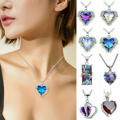 925 Silver Mystic Heart Rhinestone Crystal Pendant Angel Wing Necklace Jewelry