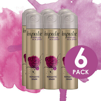 Impulse Women Body Spray Deodorant Romanic Spark 75ml - 6 Pack (6 x 75ml)