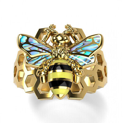 Fashion Bee 18k Yellow Gold Plated,Silver Rings for Women Jewelry Size 6-10