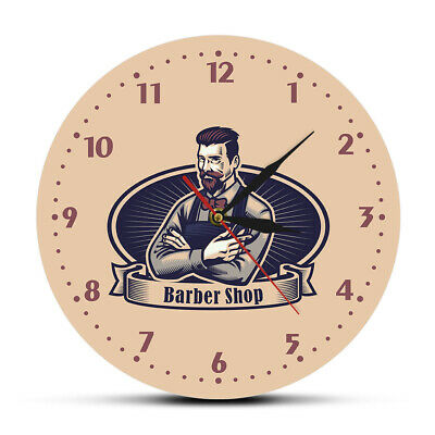 Retro Man Cave Barber Shop Advertising Sign Silent Wall Clock Hairdresser Gift