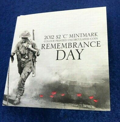 2012 Remembrance Day $2 Colour Printed Red Poppy 'C' Mintmark Uncirculated Coin