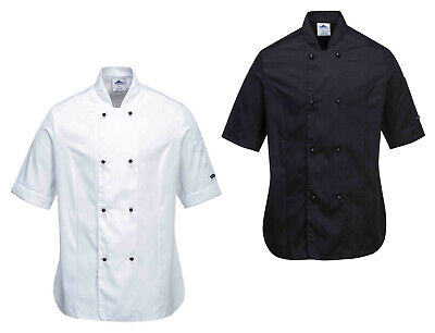 Portwest C737 Rachel Ladies Chef Jacket Short Sleeve Polycotton Mandarin Collar