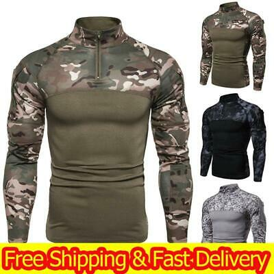 Mens Camo Military T-shirt Tactical Long Sleeve Army Combat Shirt Fitness Blouse