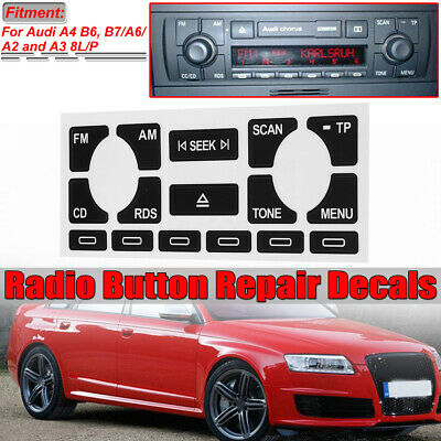 Set of Stickers Repair Buttons for Audi A2 A3 A4 A6 Concert CD Player Radio TP