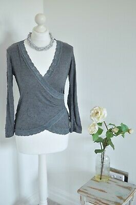 BNWT £40 Phase Eight grey crinkle lace wrap top 8