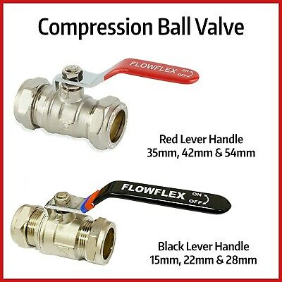 Compression Lever Arm Ball Valves | 15mm to 54mm | RED Handle