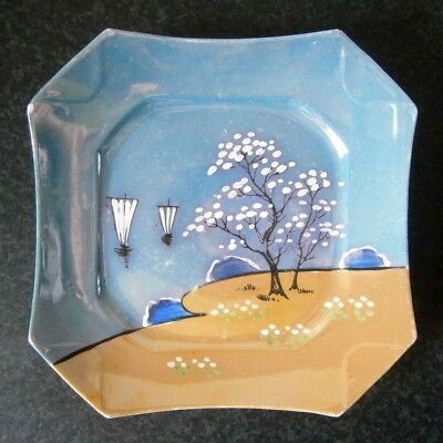 Antique Vintage Art Deco Lustre Ware Plate Hand Painted Boats & Blossom Tree