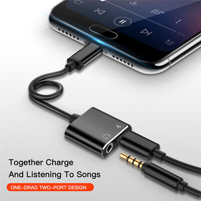 2in1 Dual Type C To 3.5mm Audio Cable Adapter Aux Headphone Jack For Samsung UK