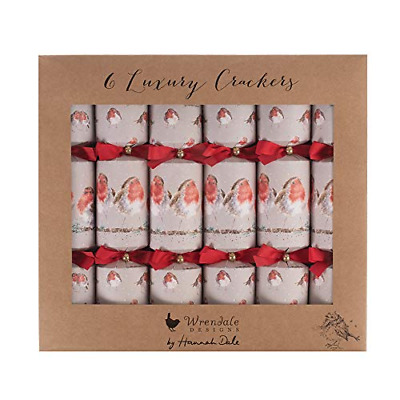 Wrendale Designs Set of 6 Luxury Christmas Crackers  Robin