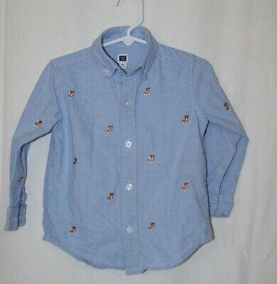 Janie And Jack Infant Toddler Boys Dog Theme Blue Long Sleeve Shirt Sz 2T