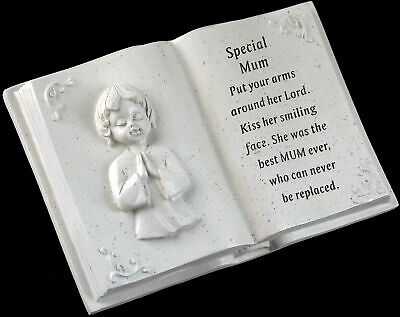 Remembrance Grave Memorial Cherub Book Ornament With Inscription