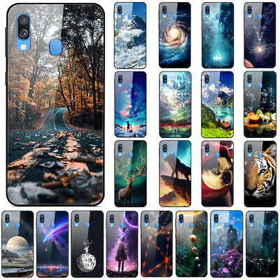 For Samsung  A20E A30 A40 A50 A60 A70 Gradient Painted Tempered Glass Case Cover