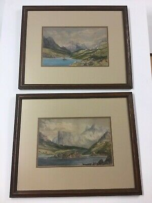 Pair Antique Landscape Watercolors Identically Framed