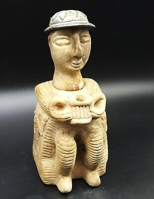Museam Qulity Very Old Bactrain Empire Male Siting Idol Statue With Head & Cap