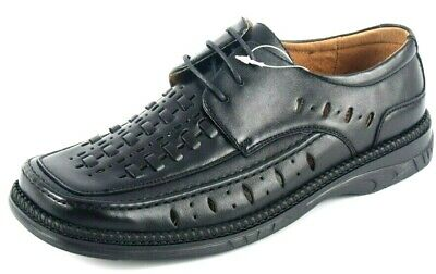 New Boys Mens Leather Lined Black Office Work School Formal Uniform Suit Shoes